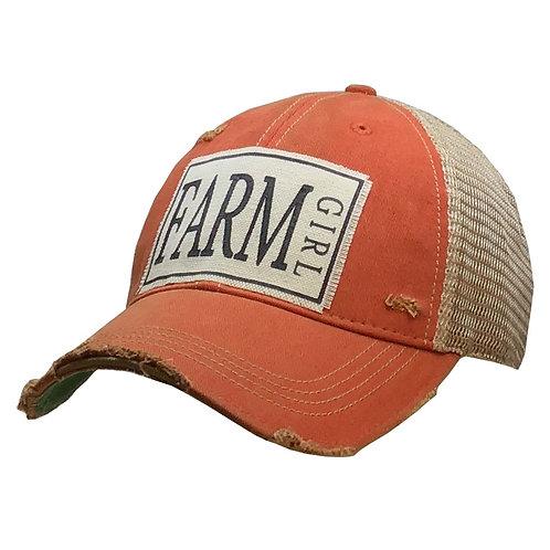 Distressed Trucker Cap - Farm Girl