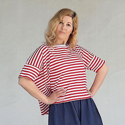 חולצת לולו פסים אדום לבן