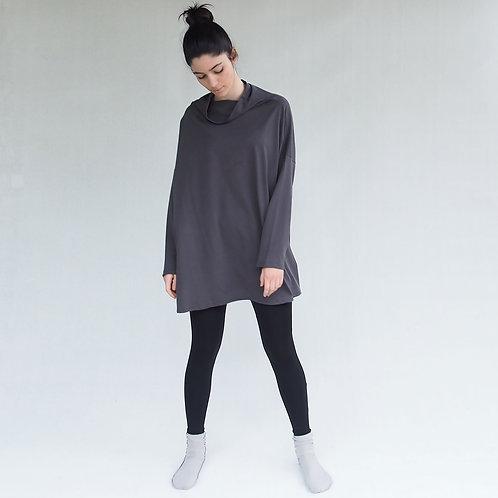 חולצת יפן אוברסייז אפור כהה
