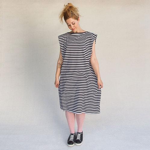 שמלת אוריגמי פסים שחור לבן