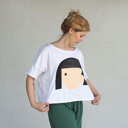חולצת לולו פרצוף בלבן