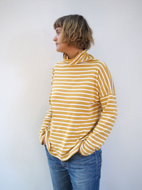 Loose turtle neck top in mustard yellow stripes