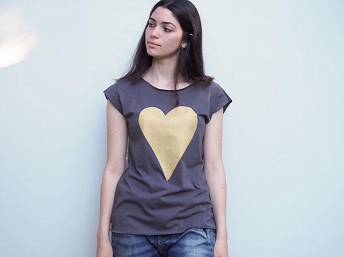 Boyfriend t-shirt Gold heart