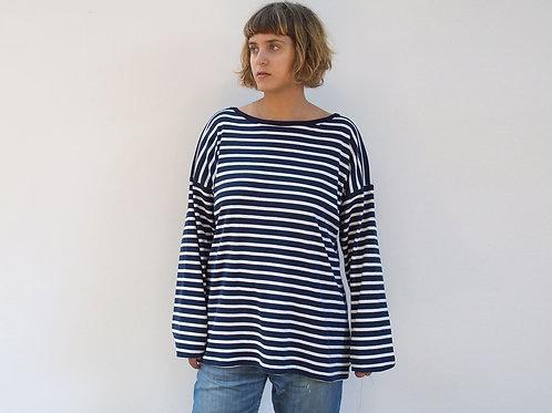 חולצת פסים קלאסית כחול נייבי