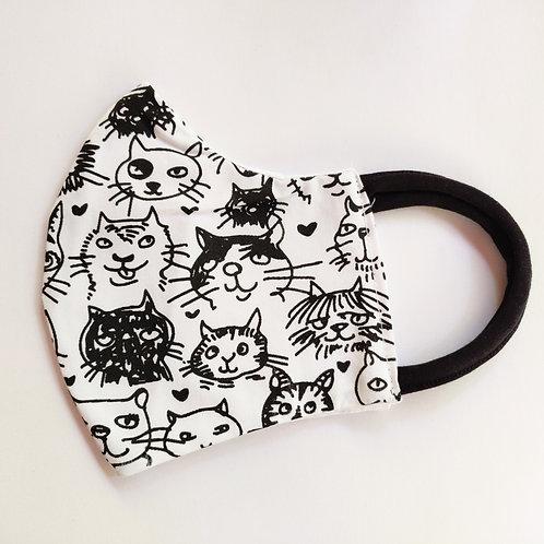 מסיכת חתולים, הדפס ידני שחור לבן