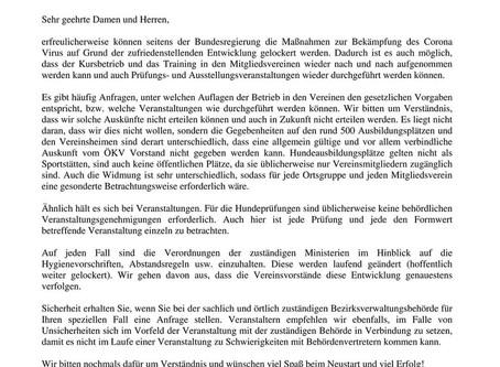 ÖKV - Aussendung zwecks Coronalockerungen