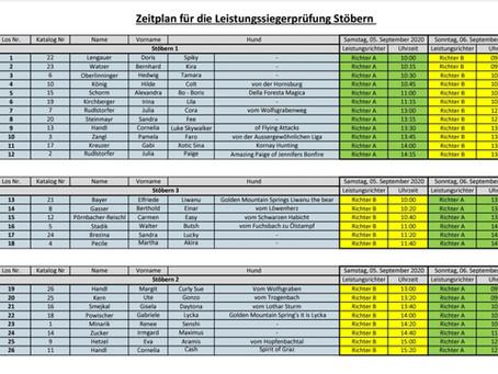 Zeitplan ÖKV - Stöberleistungssiegerprüfung 2020