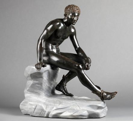 Hermès assis d'après l'antique – bronze vers 1890