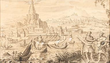 Construction du Phare d'Alexandrie - Ecole de Marteen van Heemskerck vers 1600