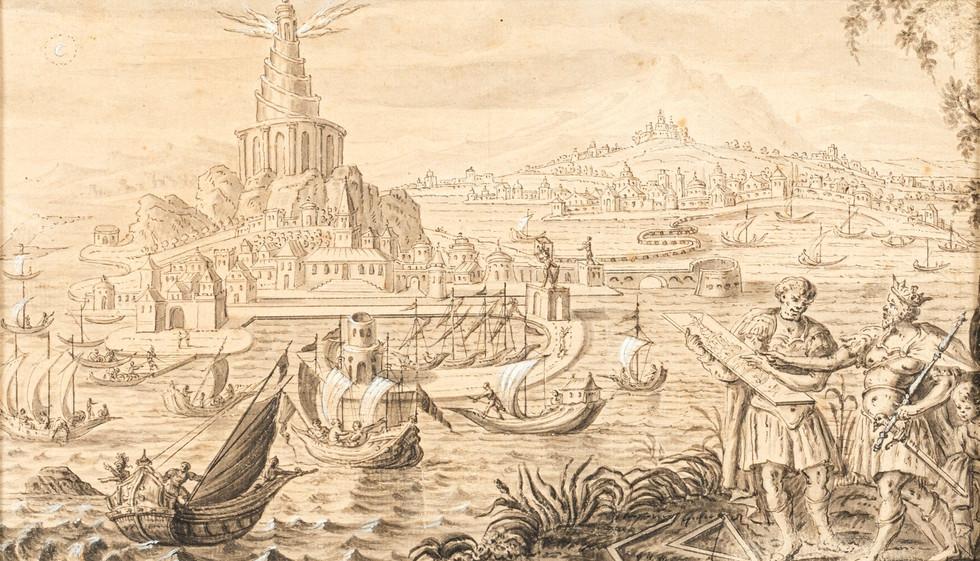 Construction du Phare d'Alexandrie - Ecole de Marteen van Heemskerck