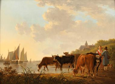 Troupeau de vaches dans un paysage fluvial - Attribué à Jacob Van STRY