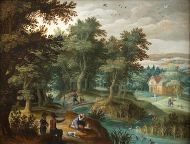 Paysage avec des chasseurs - Ecole flamande du XVIIe siècle - Attribuée à Anton Mirou (Anvers vers 1570 - Id. vers 1621)