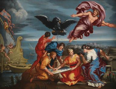 Ecole romaine du XVIIe siècle - Allégorie de la navigation d'après Pierre de Cortone