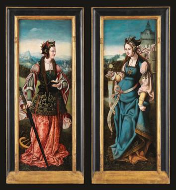 Sainte Barbe et Sainte Catherine - Attribué au Maître de Francfort (vers 1460-1520)