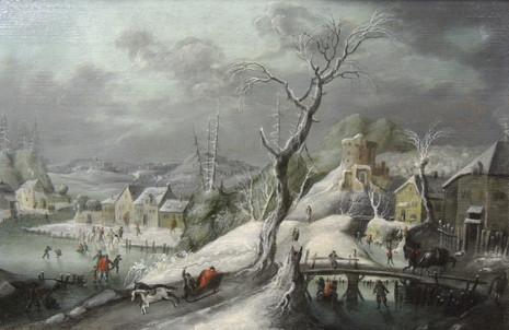 Paysage idyllique enneigé – Ecole de Pieter Brueghel le jeune 17ème siècle