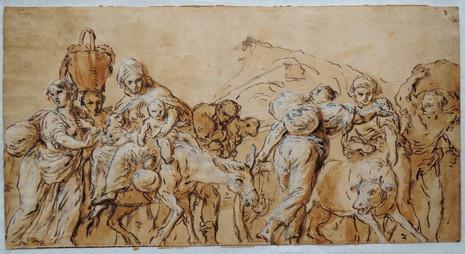 L'Exode – Dessin attribué à G. Benedetto Castiglione (1609 – 1664)