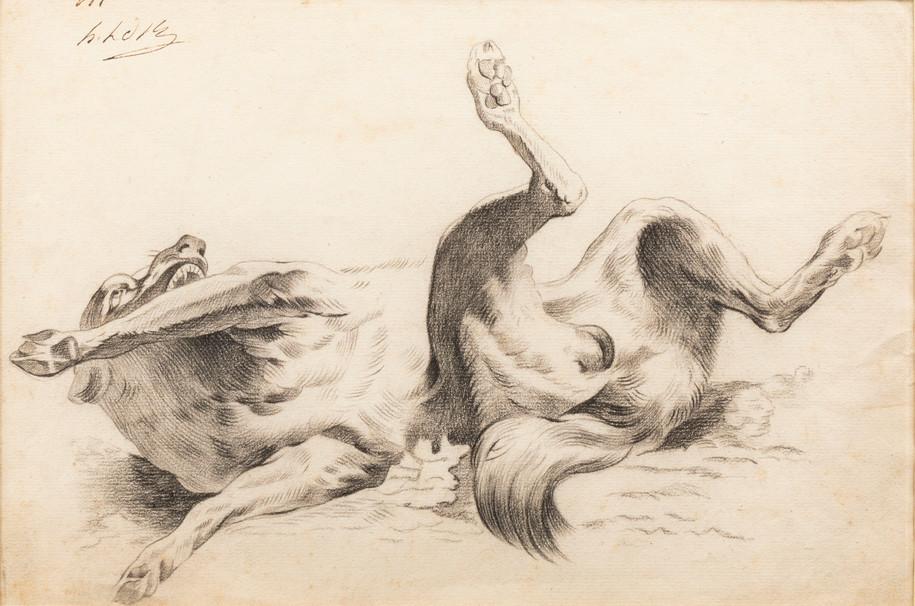 Chien se roulant sur le dos – entourage d'Alexandre-François Desportes