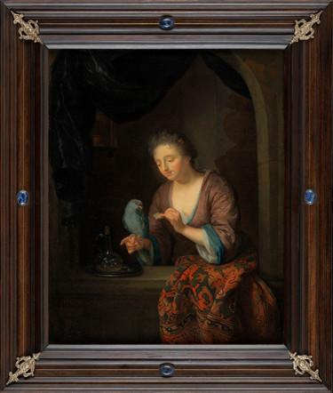 Dame au perroquet attribué à Godefried Schalcken (1643-1706)