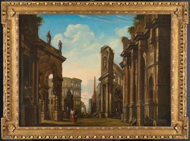 Grand caprice architectural romain – Suiveur de Panini XVIIIe siècle