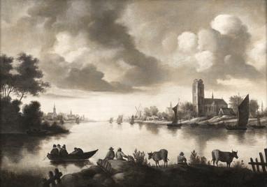 Vue d'un estuaire en grisaille. - Ecole néerlandaise du XVIIe siècle