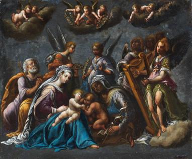 Concert d'anges autour de la Sainte Famille - Ecole véronaise vers 1600