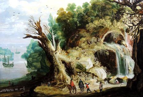 Paysage à la cascade - Ecole flamande début XVIIème siècle, cercle de Joos de Momper (1564 – 1635)