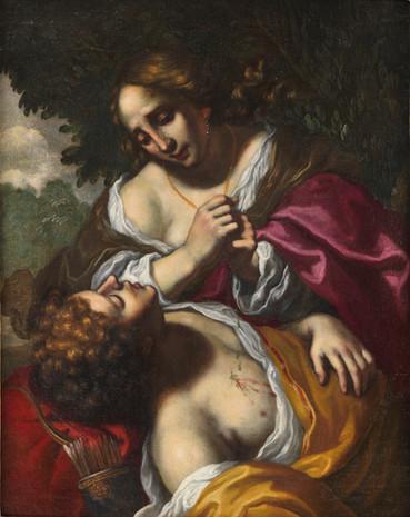 Angélique soignant Médor - Florence XVIIe siècle - Attribuée à Felice Ficherelli dit il Riposo (San Gimgnano  30 août 1605 - Florence 5 mars 1660)