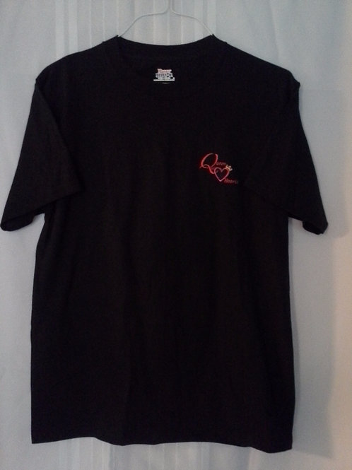 Plain Black T Shirt with Red Logo