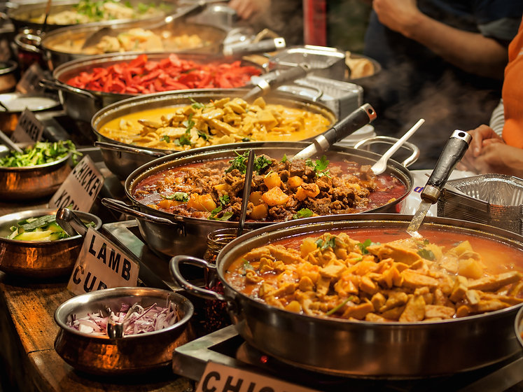 Oriental food - Indian takeaway at a London's market.jpg