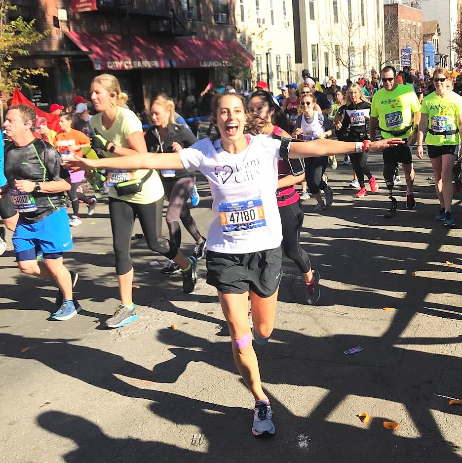Katie Giberson running the 2018 NYC marathon
