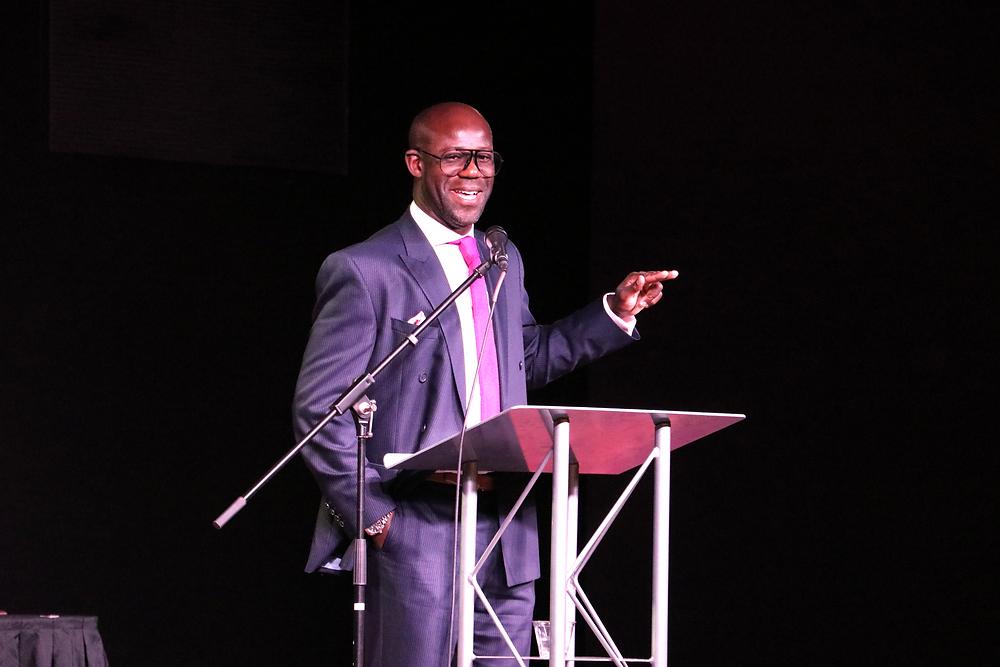 Chris Bart-Williams presenting keynote at 2019 Charlotte Soccer Gala