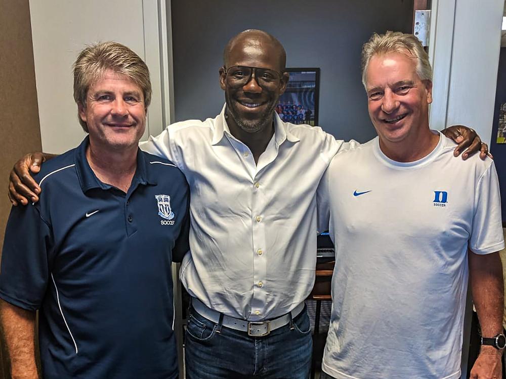Chris Bart-Williams with Duke University soccer coaches John Kerr and Robbie Church