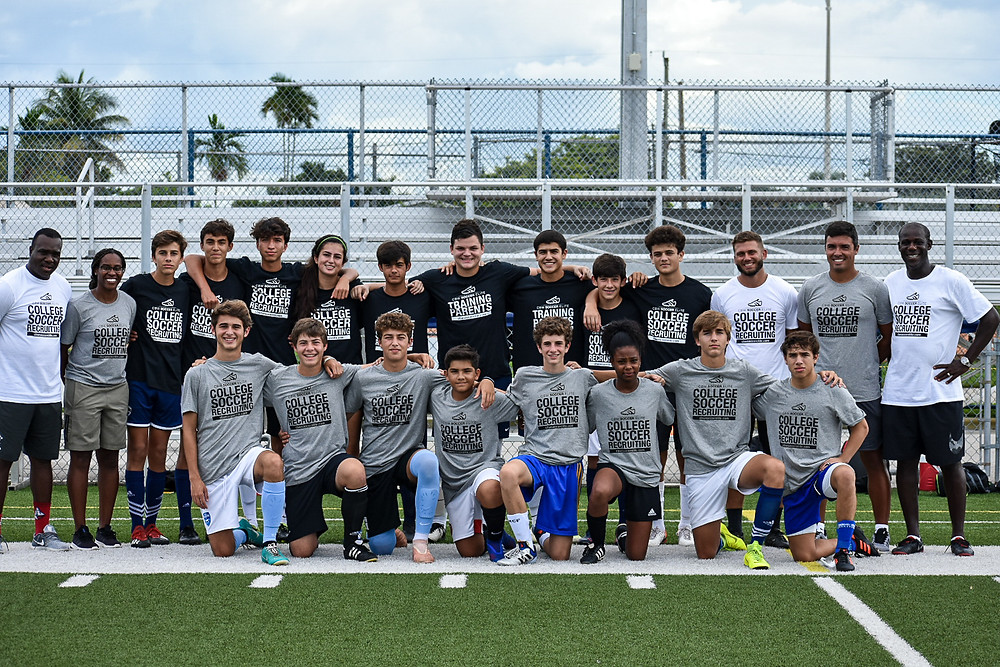 Chris Bart-Williams with the student-athletes and coaches at a recent College Soccer Bootcamp in Miami.