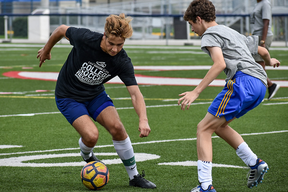 Players worked on mastering the fundamentals of college soccer.
