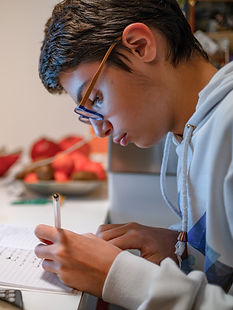 Boy focusing while studying his schoolwork