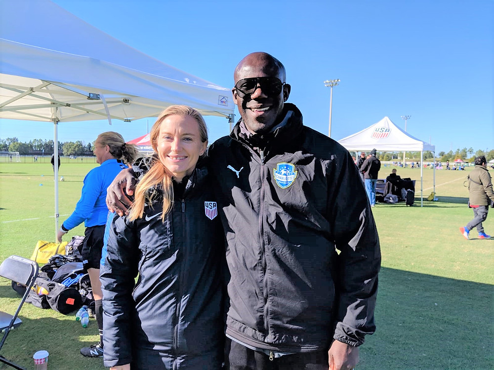 Chris Bart-Williams & US Soccer technical advisor Morgan Church at the 2018 DA Winter Showcase