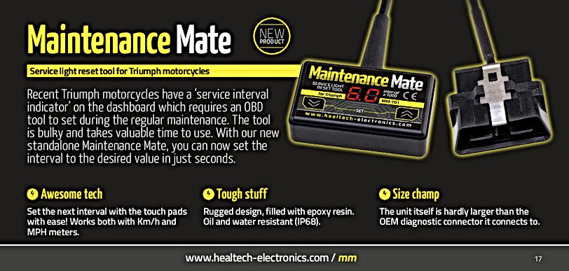 Healtech Maintenance Mate Triumph Mototek