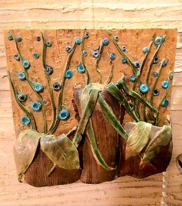 Handmade Ceramic Wall Mural -Florals
