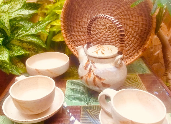 Handmade Pottery Beige Tea Set with a Tea pot, 2 Cups and Saucers and a Bowl all Hand painted Orange bamboo leaves