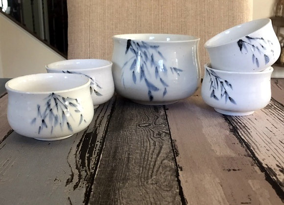 Handmade Ceramic Porcelain Blue Bamboo Soup Bowl Set