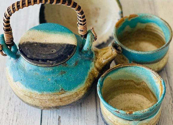 Handmade Blue Ceramic Tea Set - 4 pieces Handmade Pottery Tea Pot, 2 Tea Cups and  1 Snack Bowl