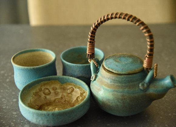 Handmade Pottery Ceramic Tea Set - 4 pieces Handmade Pottery Tea Pot, Handmade Pottery Tea Mugs, Handmade Pottery Snack Bowl