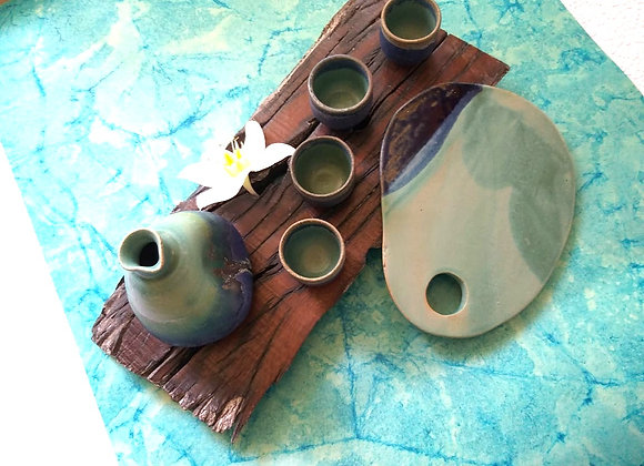 Handmade Ceramic Blue Sake Set of 7 with a Sake Flask, 4 Cups, 1 Bowl and a Cheeseboard