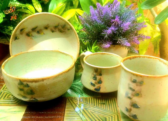 Handmade Ceramic Beige Breakfast Set of Cereal Bowl, 1 Mugs, 1 plate and a Juice Glass hand painted with florals