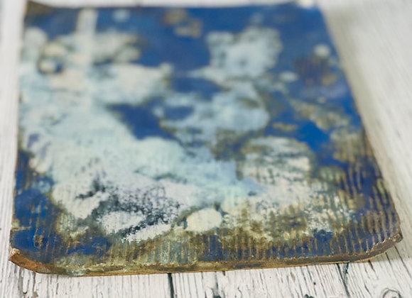 Handmade Cloudy Cobalt Blue Flat Appetizer/Sushi Plate