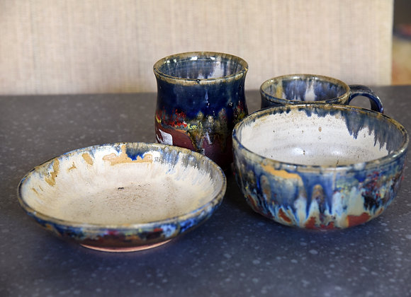 Handmade Ceramic Blue Breakfast Set of Cereal Bowl, 1 Mug, 1 plate and a Juice Glass all with a beige interior