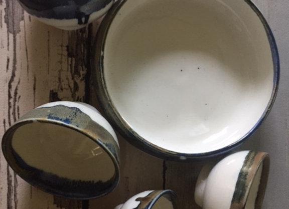 Handmade Ceramic Dessert Bowl Set - Modern Handpainted 5 Porcelain bowls