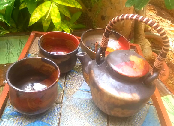 Handmade Pottery Brown Tea Set with a Tea pot, 2 Mugs and a Bowl with a Beige Interior