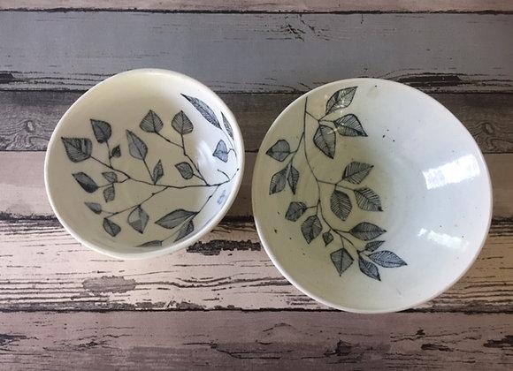 Handmade Ceramic Porcelain Blue Floral Bowl Set of Two