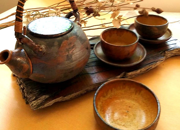 Handmade Ceramic Brown Copper Tea Set with a Tea pot, 2 Cups and Saucers and a Bowl all with a Beige interior